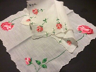 2  Vtg Swiss Hankies 1-Unused w Tag Cotton Pink Embroidered Roses Lily Valley