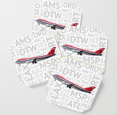 Northwest Airlines Boeing 747 with Airport Codes - Drink Coasters