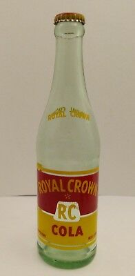 Vintage Soda Pop Glass ACL Bottle - Royal Crown RC Cola - 12oz - With Cap