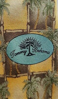 Vintage Tommy Bahamas Silk Tie -  Made In USA - Coconut Trees YELLOW KHAKI