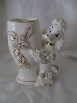 Lefton China vintage white spaghetti poodle vase gold highlights 1633