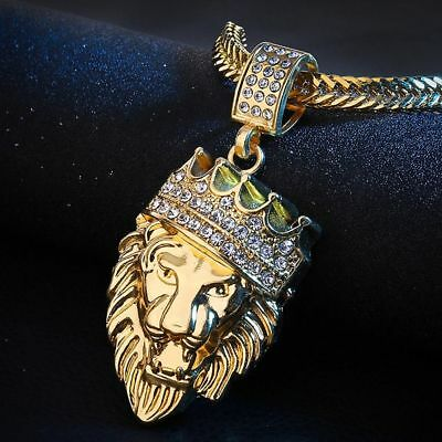 Jewelry Gold Filled Hip Hop Women Necklace Pendant Bling Lion Head Crystal