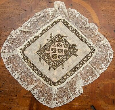 Lovely French Metallic Embroidered Doily with Valenciennes Lace Trim