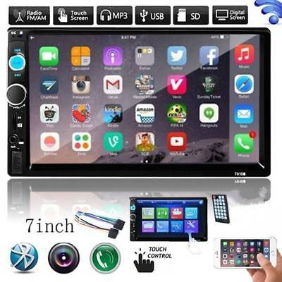 2 DIN 7 inch Car Bluetooth Stereo Radio MP5 Player USB AUX + Rear View Camera