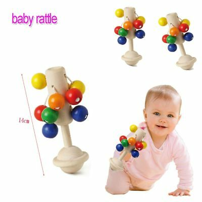 New Infant Baby Sound Musical Teether Wooden Handbell Rattle Toy