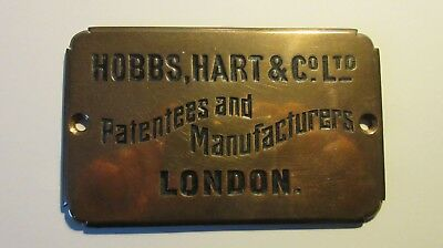 Hobbs, Hart & Co Ltd London Bronze Plate/Plaque (Excellent Condition)