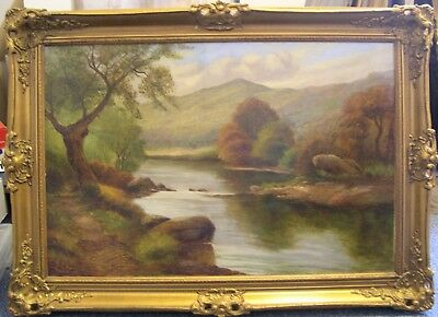 """Large (20 x 30in) A WRIGHT antique Victorian c1880 oil """"Country river landscape"""""""