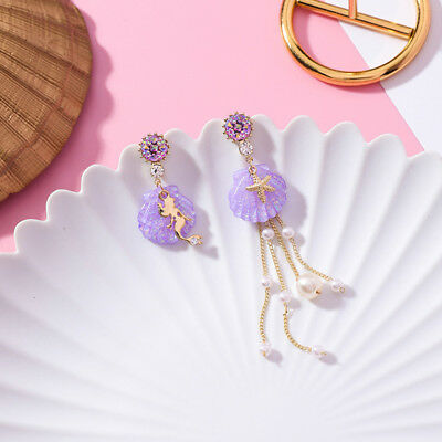 Cute Crystal Shell Asymmetric Long Tassel Pearl Mermaid Dangle Girl Drop Earring