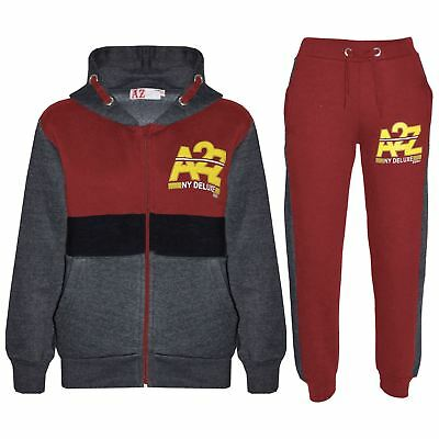 Kids Jogging Suit Boys Girls Charcoal & Red Tracksuits Zipped Tops Bottom 5-13Yr