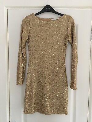 Glamourous Gold All-over Sequin Bodycon Short/mini Dress Size 8/10