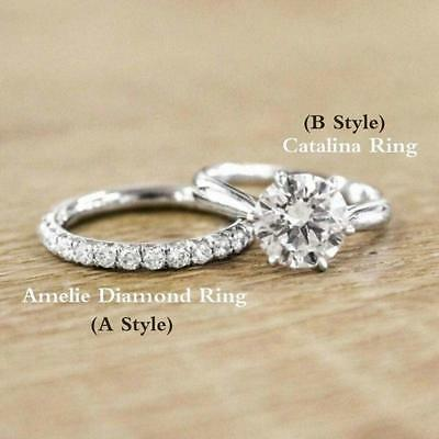 Women Engagement Wedding Set 18k Cubic Zirconia Gold Plated Ring Gifts HD
