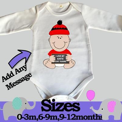 Personalised Baby I Love My Auntie Comedy Sleepsuit Bodysuit Vest Shower Gift