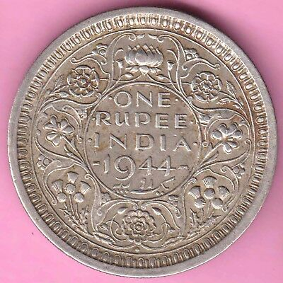 British India-1944-Bombay Mint-One Rupee-King George 6-Rarest Silver Coin-51