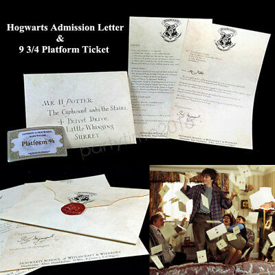 HARRY POTTER Hogwarts Admission Acceptance Envelope Letter 9 3/4 Platform Ticket