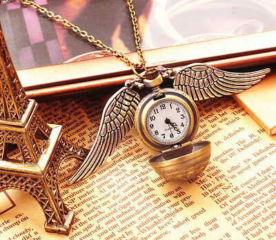 Harry Potter Quidditch Golden Snitch Retro Quartz Pocket Watch Metal Necklace