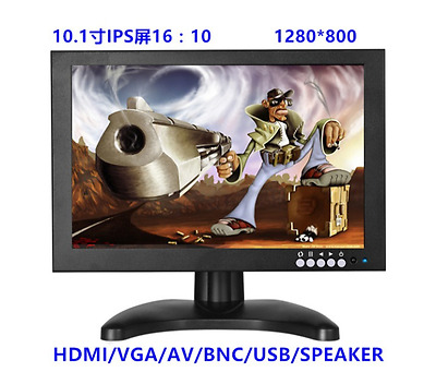 "10.1"" BNC/VGA/AV/HDMI Industrial Metal LCD Monitor 101IPS 1280*800 Black Full HD"