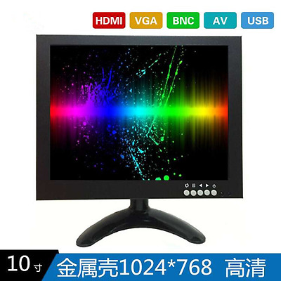 10inch BNC/VGA/AV/HDMI TFT-LED Industrial Monitor HD10B 1024*768 Black Full HD