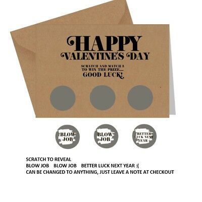 Funny, banter, blunt, rude, sarcastic, VALENTINE'S CARD Blow Job - Scratch Card