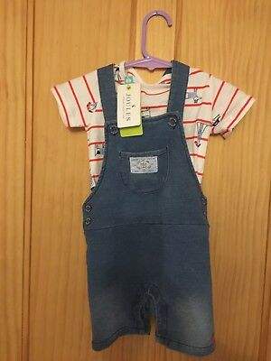 JOULES boys Baby Duncan 9-12 months dungarees Shorts With TShirt. New With Tags
