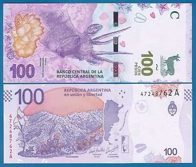 "Argentina 100 Pesos P New 2018 UNC Suffix ""A"" Low Shipping! Combine FREE!"