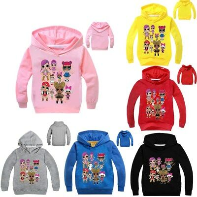LOL Dolls Girl Princess Clothing Hoodies Tops Outfits Girls Sweater Pink Yellow