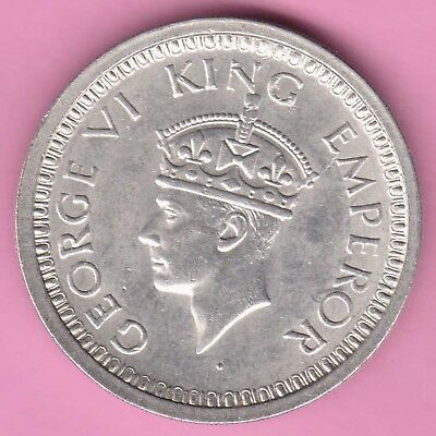 British India-1945-Bombay Mint-One Rupee-King George 6-Rarest Silver Coin-26