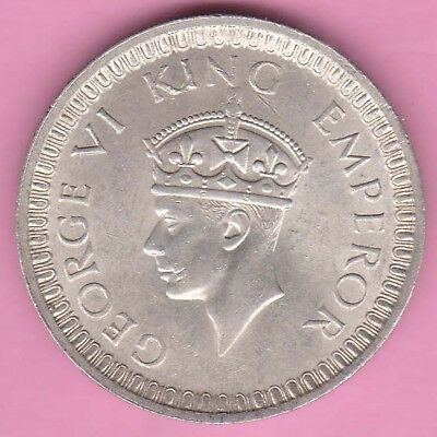 British India-1942-Bombay Mint-One Rupee-King George 6-Rarest Silver Coin-5