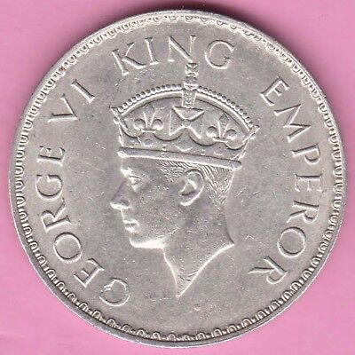 British India-1941-Bombay Mint-One Rupee-King George 6-Rarest Silver Coin-19