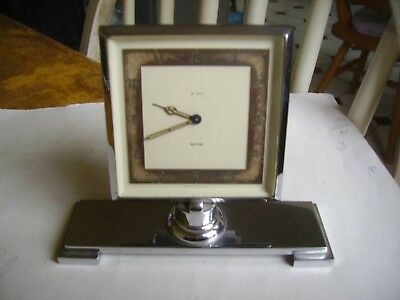 Very nice vintage art deco 1930s chrome plated time-piece/clock.