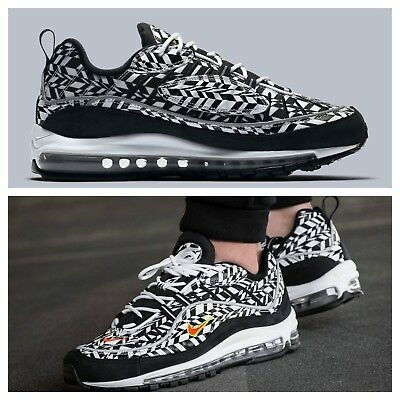 70b93ca52f4 NIKE MEN S SZ 7.5 Air Max 98 Aop All Over Print Black White Aq4130 ...