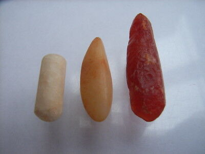 3 Ancient Neolithic Carnelian, Quartz Ear Plugs, Stone Age, VERY RARE !!