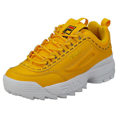 8832d23f559 Fila Disruptor II Premium Repeat Femmes Yellow Cuir et Synthetique Baskets