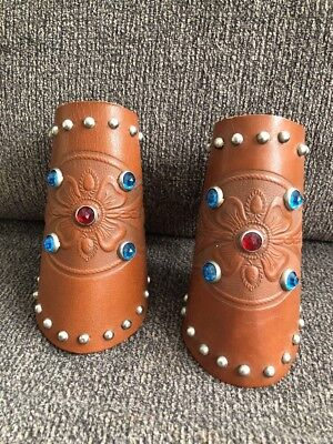 Vintage Leather Cowboy/Cowgirl Child's Size Small? Cuffs Western Bling Gauntlets