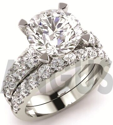 3.58ct Brilliant Round cut Engagement Ring Wedding Band Solid 14k White Gold