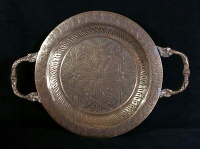 """Vintage Middle Eastern Handcrafted Footed Double Handled Brass Tray 9.75"""" VFINE"""