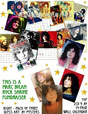 Sale & Save £4.00 Marc Bolan 2019 A4 Wall Calendar + Set Of 3 Glossy A4 Posters