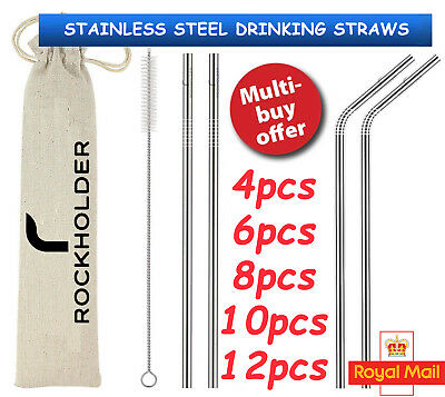 Stainless Steel Metal Drinking Straw Straws Reusable Party Cleaner Brush Bar New