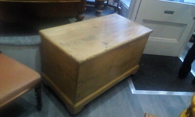 Large Antique Victorian Vintage Old Pine Chest / Wooden Trunk / Blanket Box