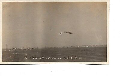 3 Musketeers ~ Wwi World War I ~ Air Force  Usaac~ In Flight Airplane  Rppc 74