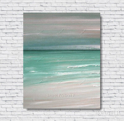 Abstract Ocean Painting Original Art Vintage Texture Oil Hand-Painted Canvas M