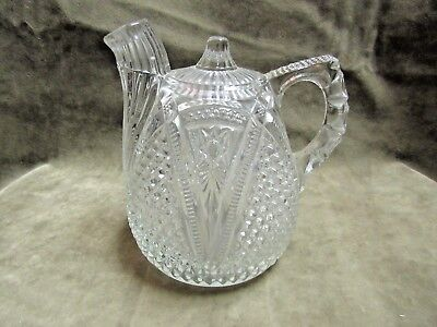 1890's US Glass Co Massachusetts Victorian Pressed Pattern Glass Rum Jug Bottle