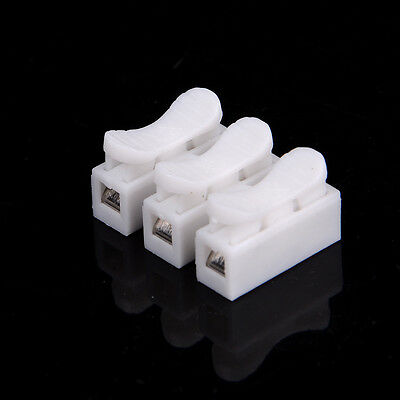 10Pcs 10A 3 Way LED Ceiling Quick Fix Spring Clamp Terminal Block Connector YRDR