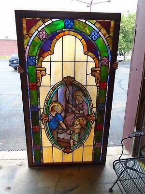 """ANTIQUE STAINED & LEAD GLASS PANEL WINDOW  38 3/4"""" W x 68 3/4"""" H"""