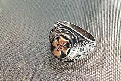 Antique Silver Sterling Religious Ring w/ Eagle, Cross and Greek lettersigmaΣ