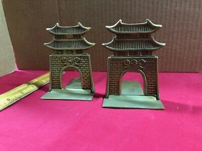 Pair Vintage Antique Folding Brass Pagoda Bookends MADE IN KOREA- REAL NICE