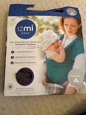Izmi Bamboo Stretchy Baby Wrap/carrier In Box. Dark Grey. NEW Unused. RRP £45