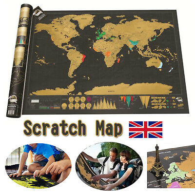 Nomal Scratch Off Travel World Map Deluxe Edition Travel Log Journal Poster Wall