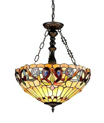 "Stained Glass Chloe Lighting Victorian 3 Light Inverted Pendant Fixture 18"" Wide"