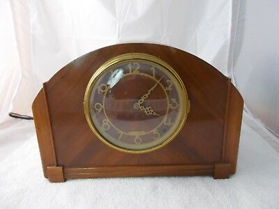 Seth Thomas Art Deco Electric Wooden Mantel Clock Westminster Chime For Repair