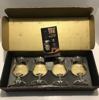 Vintage Hennessy Crystal Snifter 12 oz Cognac Brandy 4 Glasses Made in France